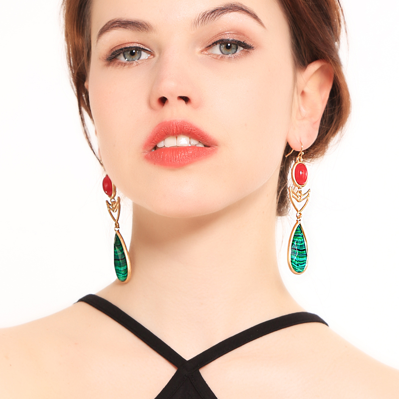 2018 Boho Long Green Druzy Opaque Teardrop Rose Roundness Gold Pierecing Earrings Ethereal Charms Jewelry Fashion Earrings