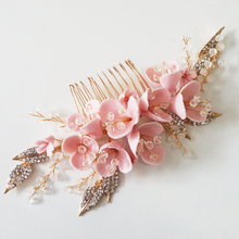 Gold Rhinestone Leaf Bridal Hair Comb Blush Pin Wedding Headpiece Brides Side Tiara Party Prom Bridesmaid Hair Jewelry Braids