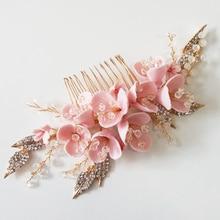 Złoty Rhinestone liść grzebień do włosów dla nowożeńców rumieniec Pin chluba ślubna panny młodej korzystając z łączy z boku Tiara Party Prom druhna biżuteria do włosów warkocze