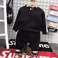 2PCS Boys winter warm clothing set kids casual velvet patchwork hoodies and pant set baby long sleeve o-neck clothes children