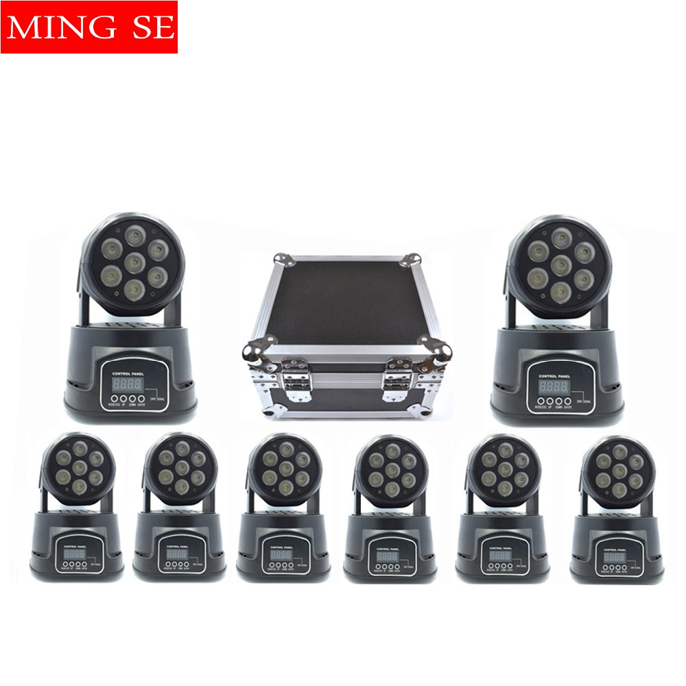 Best 8Pcs/lot 7x12W RGBW 4in1 quad led wash moving head light wtih flight case LED stage lights Mini LED Moving Head 14 channels 19 12w high power led rgbw wash light 16 channels ac90 240v moving head light professional stage