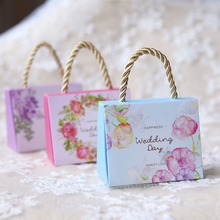 50pcs/lot DIY Portable Happy Wedding Day Candy Box Sweet Love Portable Candy Box Small/Big Size Flower Candy Box