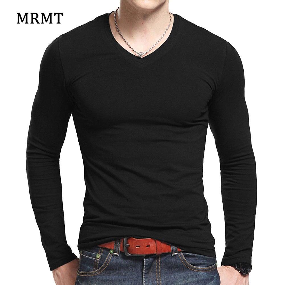 Lycra cotton men's long sleeve v neck   t     shirt   2018 MRMT The autumn men   T   cotton   T  -  shirt   slim solid tight   t     shirt