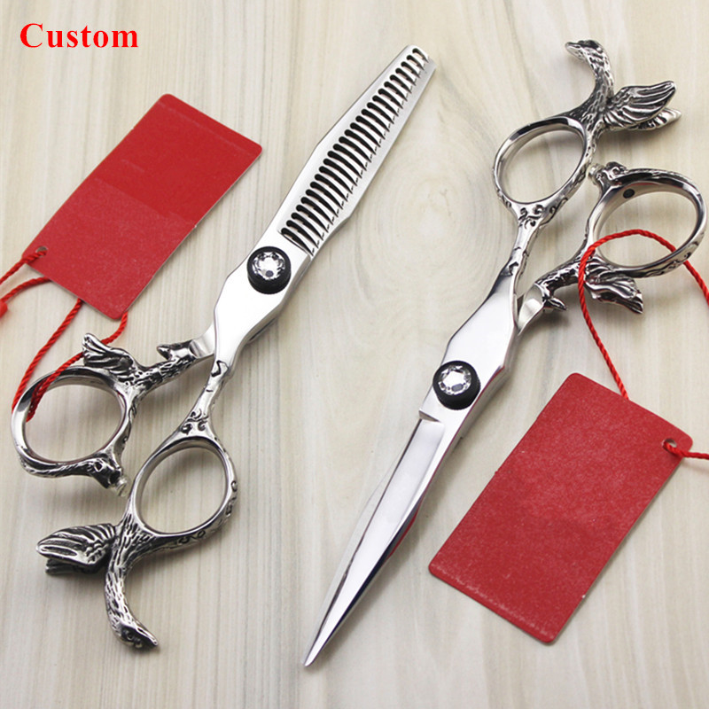 Custom name professional japan 440c steel 5.5'' Angel hair scissors cutting barber makas thinning shears hairdressing scissors