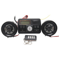 Motorcycle Bike FM Radio USB TF MP3 Player Waterproof Anti Thief LCD Stereo Speakers Remote Control