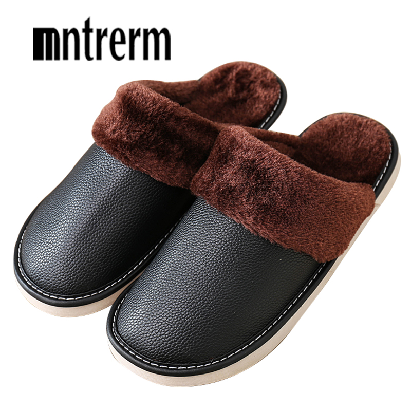 Mntrerm Men's Slippers Winter genuine Leather Thick With Plush Home Indoor Non-slip Thermal Large Size Slippers New Hot Sale hot mds75d 16 home mudule new