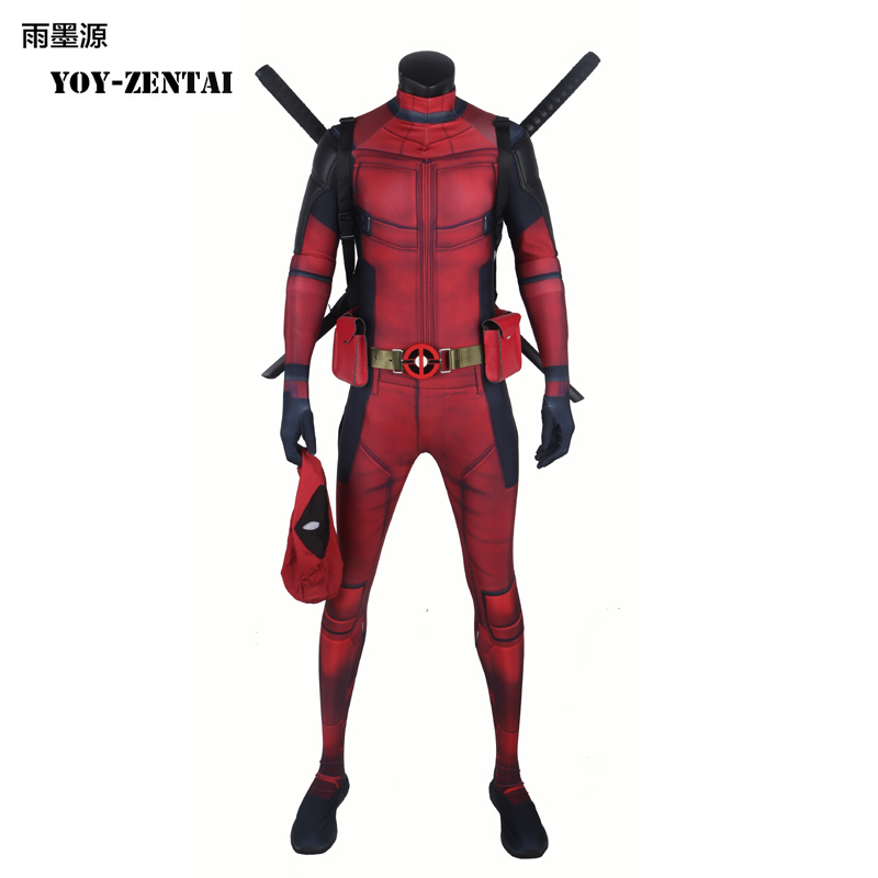 Movie Coser Best Quality New Arrive Deadpool Costume With Muscle Movie Super Hero Deadpool Spandex Suit With Mask Red Hero Suit
