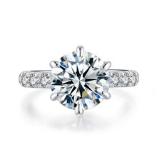 цена на QYI Luxury high end Rings For Women 3.5 Carat Solitaire Wedding Rings 925 Silver Round Cut Zirconia Engage Rings Engagement
