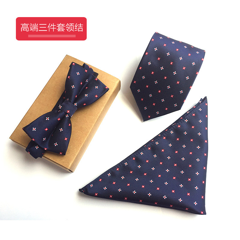 3PCS Slim Tie Set Men Bow Tie and Handkerchief Bowtie Necktie set Business men party weeding