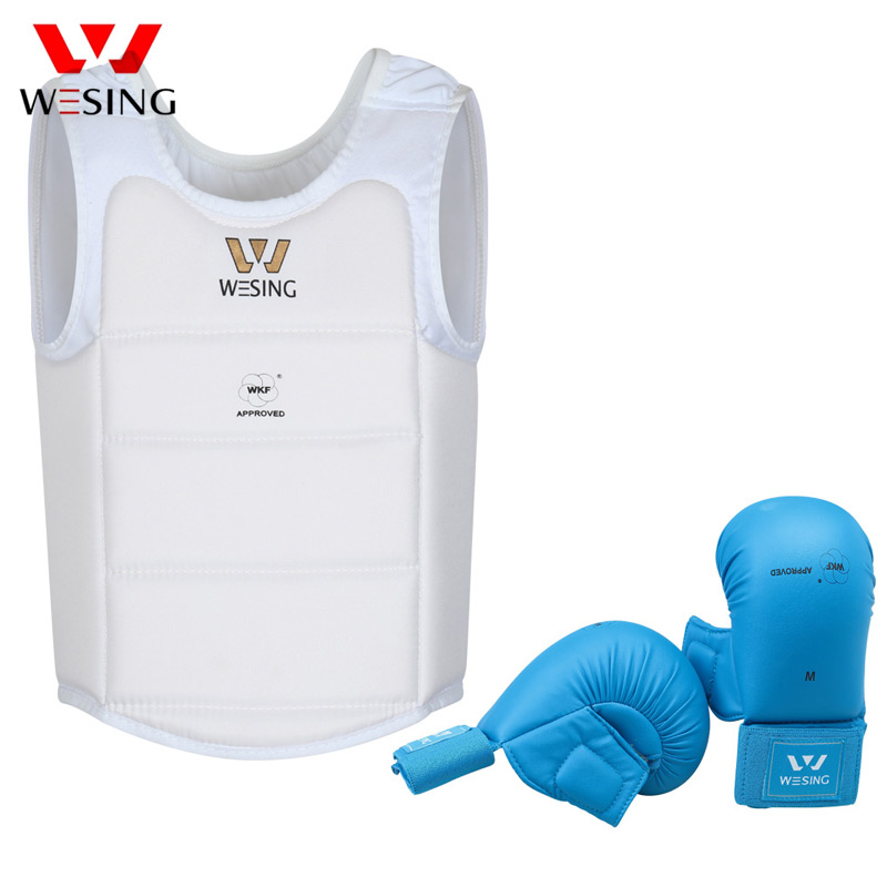где купить Wesing Men Karate Protector Equipment Karate Gloves Protector Thumb Karate Chest Protective WKF Approved competetion по лучшей цене