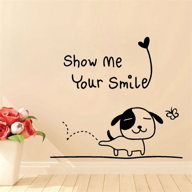 "quote black wall decals for nursery happy puppy with ""show me your"