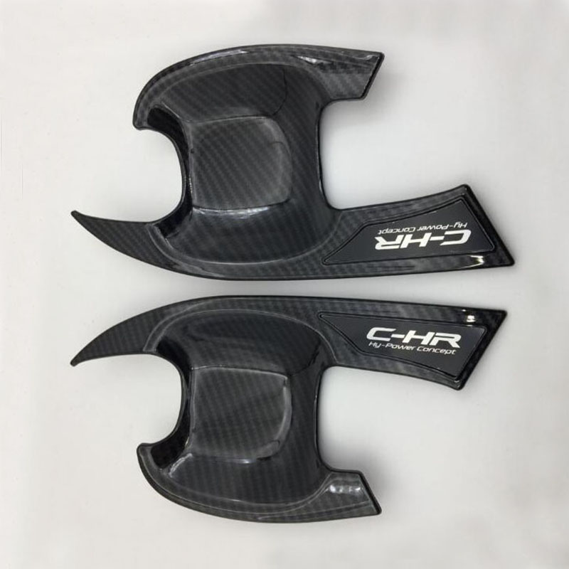 Fit For Toyota C-HR CHR 2017 2018 Door Handle Bowl Cover ABS BLACK CARBON FIBRE Outside  Cover For CHR Exterior CAR Styling