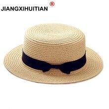 Г., простая летняя пляжная шляпа для родителей и детей, Женская Повседневная Панама, женская брендовая шляпа, плоский бант края, соломенная кепка, шляпа от солнца для девочек