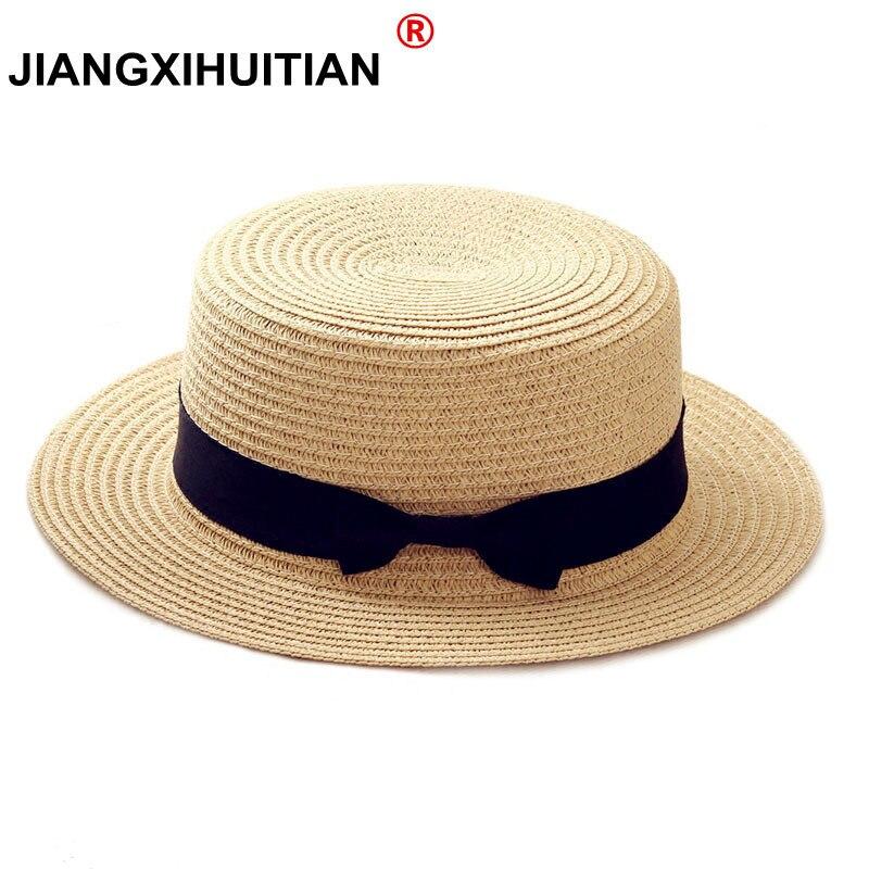 2019 ฤดูร้อนที่เรียบง่ายเด็กหมวกชายหาดหญิง Casual ปานามาหมวก Lady ยี่ห้อผู้หญิง FLAT Brim Bowknot ฟางหมวกหมวกดว...