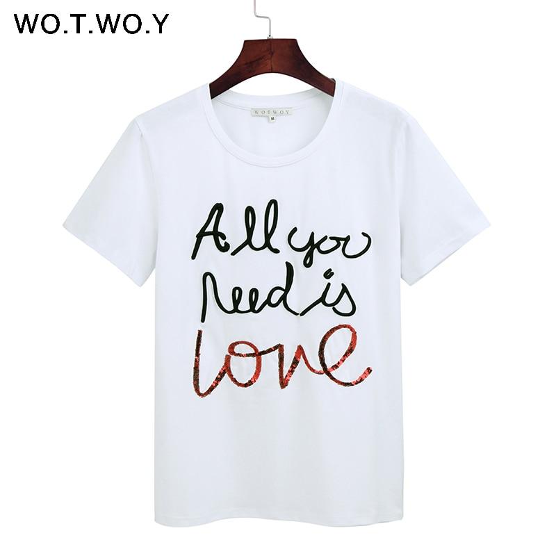 WOTWOY Estate Sequin Top Tees Donna Divertente Lettera Del Ricamo Della Maglietta Donne Nero Bianco O-Collo In Cotone T-Shirt Femme 2018 Nuovo