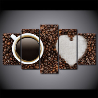 5 Panel Love Coffee Beans Canvas HD Printed Poster Frame Painting Modular Living Room Wall Art Paint Cuadros Decorativos