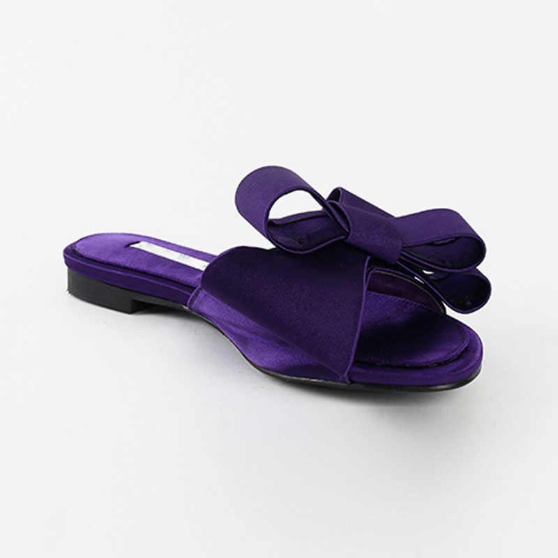 Indossare piatto pantofole scarpe da donna 2019 versione coreana di estate nuovo grande fiocco di raso testa rotonda sandali Selvaggio pantofole e mezzo di