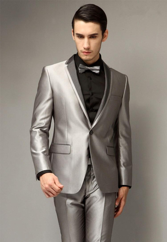 Handsome One Button Slim Fit Groom Tuxedos Notch Lapel Silver gray ...