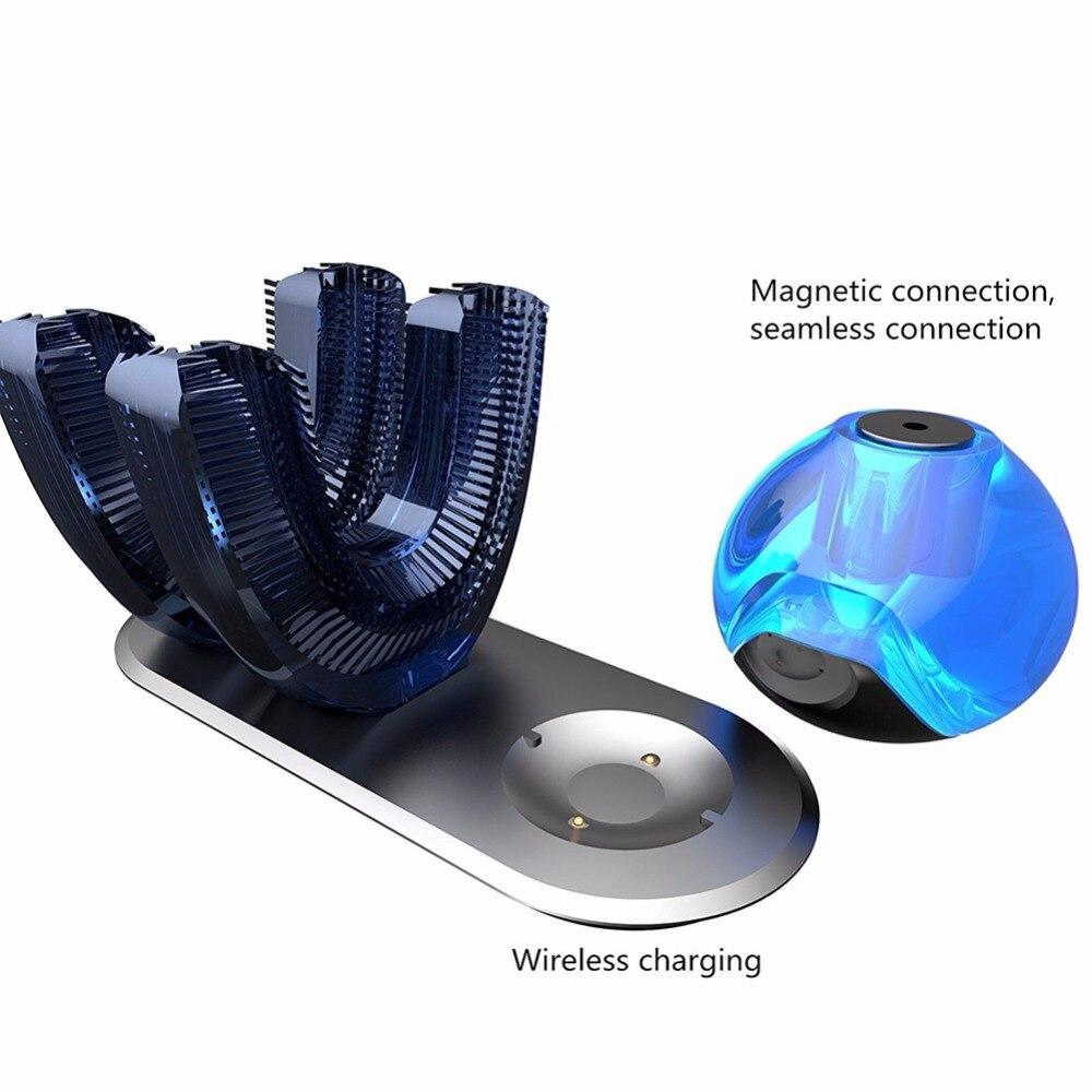1 set 360 brosse à dents automatique blanchissant brosse à dents électrique automatique avec Double tête - 5