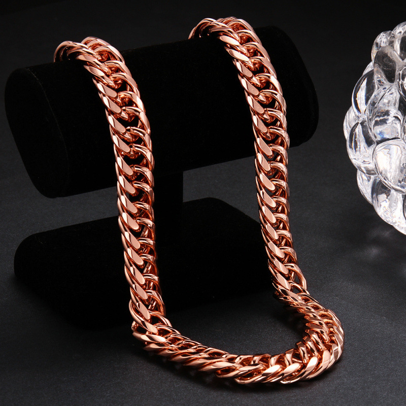 Chunky Heavy Stamped Rose Gold Filled Mens Necklace Double Curb