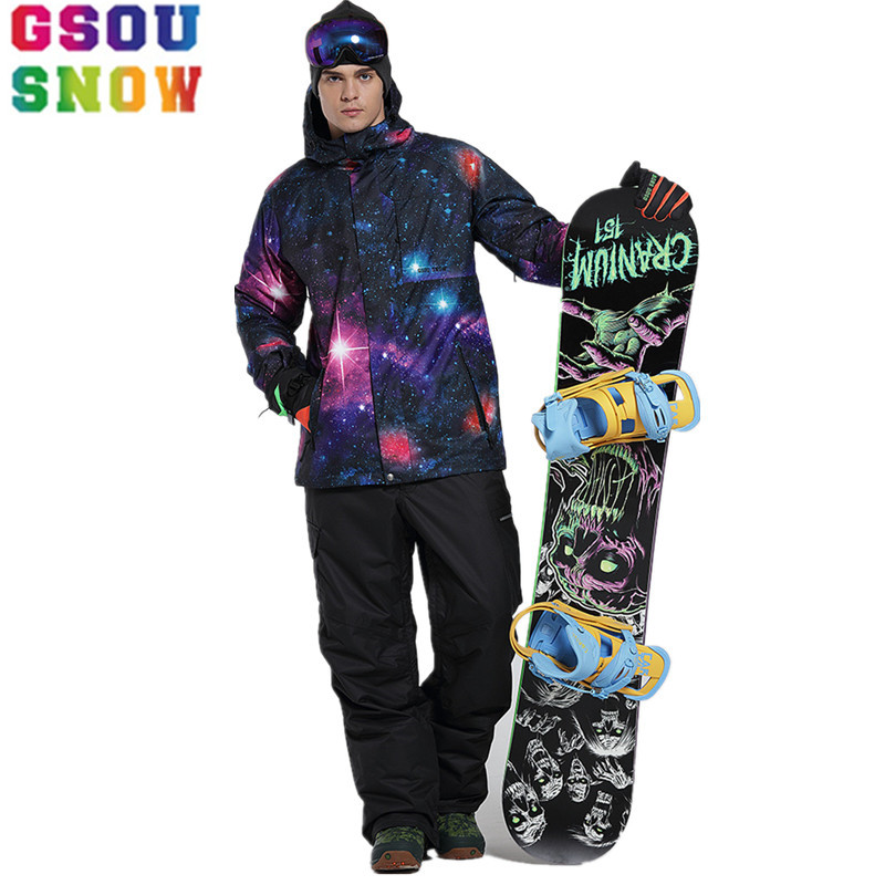 GSOU SNOW Ski Suit Men Ski Jacket Pants Waterproof Mountain Skiing Suit Male Winter Outdoor Snowboard Jacket Cheap Sports Coat gsou snow waterproof ski jacket women snowboard jacket winter cheap ski suit outdoor skiing snowboarding camping sport clothing