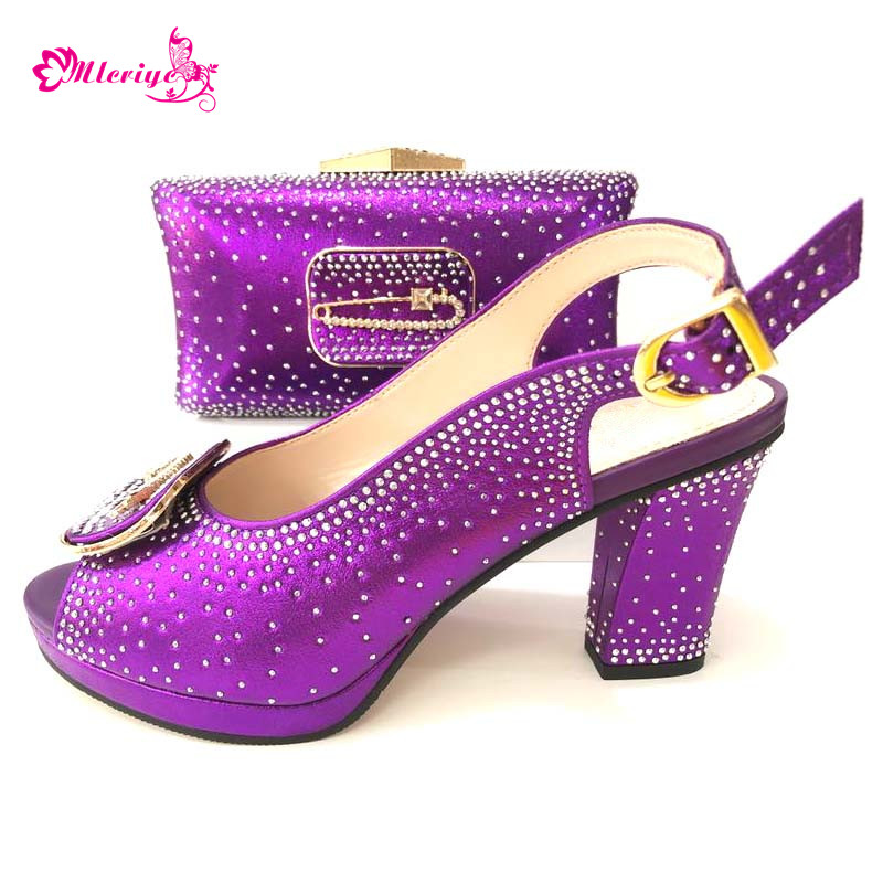 664-8 purple Newest African Wedding Italian Shoe and Bag Set Nigeria Wedding Shoes and Bag Party Shoes and Bag Set Wedding Shoes цена