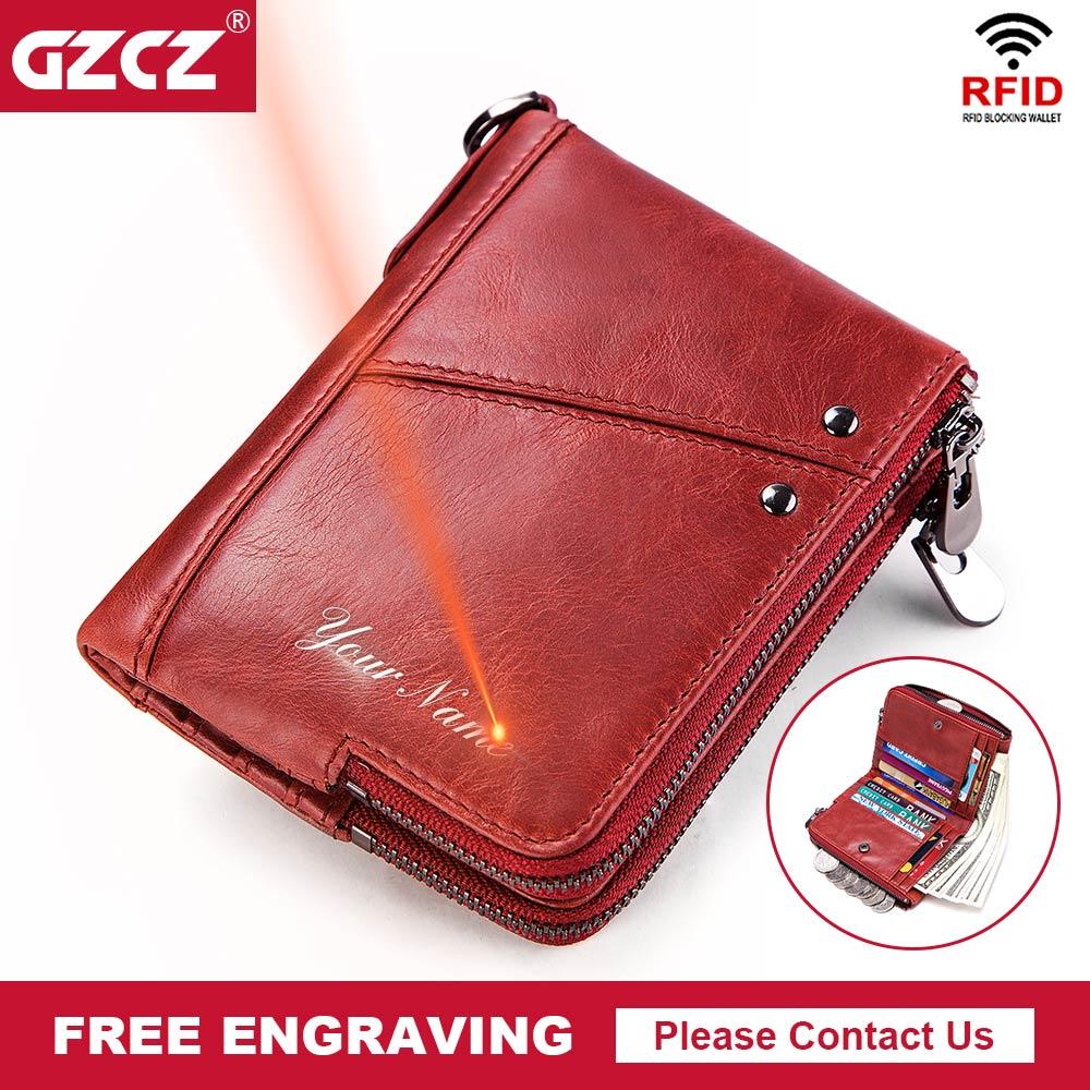 GZCZ 2018 Free Engraving Rfid Wallet Genuine Leather Wallets Female Bifold Women coin Purse Zipper Card Holder Purses Portomonee wallet