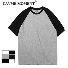 CAVME Summer Cotton T-Shirt for Men Women Raglan Sleeve Loose Design Hiphop Casual Black White Gray Tops O-Neck Short Sleeve loose stripe raglan sleeve t shirt