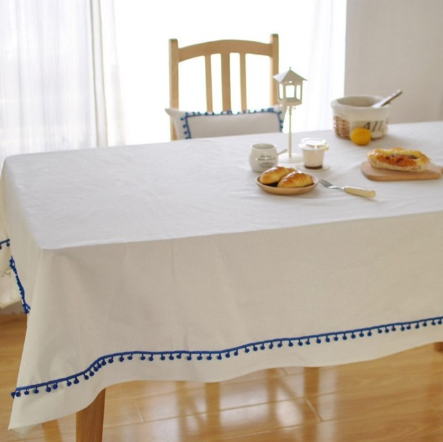 Solid White Cotton With Tassel Tablecloth Party Decoration Rectangular  Table Cover Square Table Cloth 1055ZB