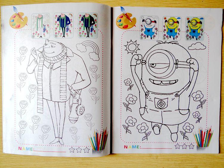 20 unids Niños Libro Para Colorear de Dibujos Animados Minion ...