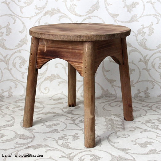 Round Wooden Stool ~ Handcrafted farm solid footrest rustic round wooden stools