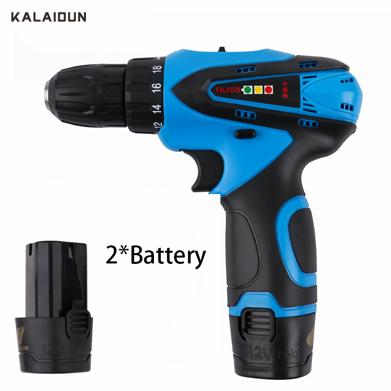 KALAIDUN 12V Electric Drill Power Tools Electric Screwdriver Lithium 2*Battery Cordless Drill Mini Drill Hand Tools kalaidun 12v dc electric drill power tools electric screwdriver lithium battery cordless drill mini drill