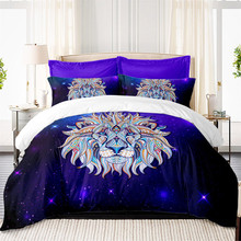 Colorful Lion Bedding Set Purple Galaxy Print Duvet Cover 3D Animal Twin Full Queen King Quilt Pillowcase D45