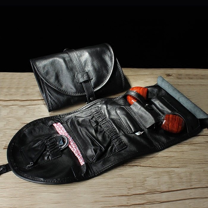 Sac de pipe à tabac en cuir de vachette véritable pochette de pipe à fumer (tenir 2 tuyaux pièces) porte-tuyau en cuir (seulement le sac)