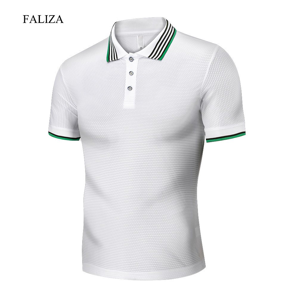 FALIZA New Summer   Polo   Shirts Mens Casual Short Sleeve Shirts Solid Color Breathable Design Men's   Polo   Shirts Tops 4XL TX106