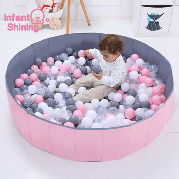 Infant Shining Ball Pool Diameter 120CM/47IN Foldable Ocean Ball Pool With Balls Playpen Toy Washable Anti-skid Fence Kid Gift
