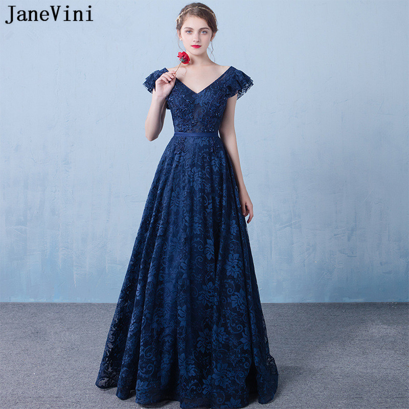 JaneVini Vintage Navy Blue Long   Bridesmaid     Dresses   2019 A Line Elegant Women Prom   Dress   V Neck Beading Lace Formal Party Gowns
