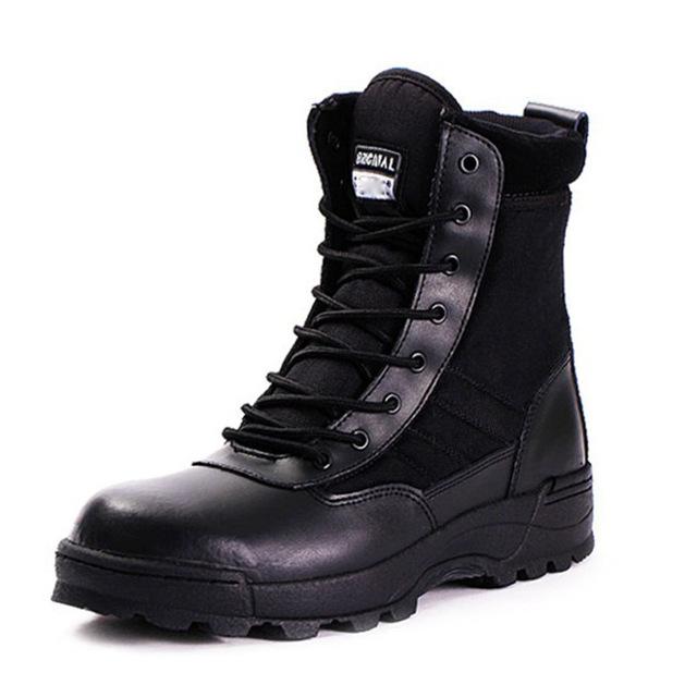 Hot New Mens Ejército Botas Tácticas Desierto Cuero Confort Zapatos Botas Botas Zapatos de Los Hombres Del Ejército Militar 2017