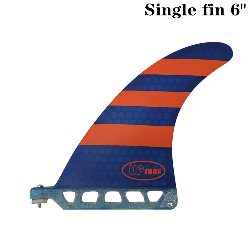 """Surf Longboard Fins Surfboard Single Fin 6"""" Surf Blue/Red color Surfing Fin 6 Length