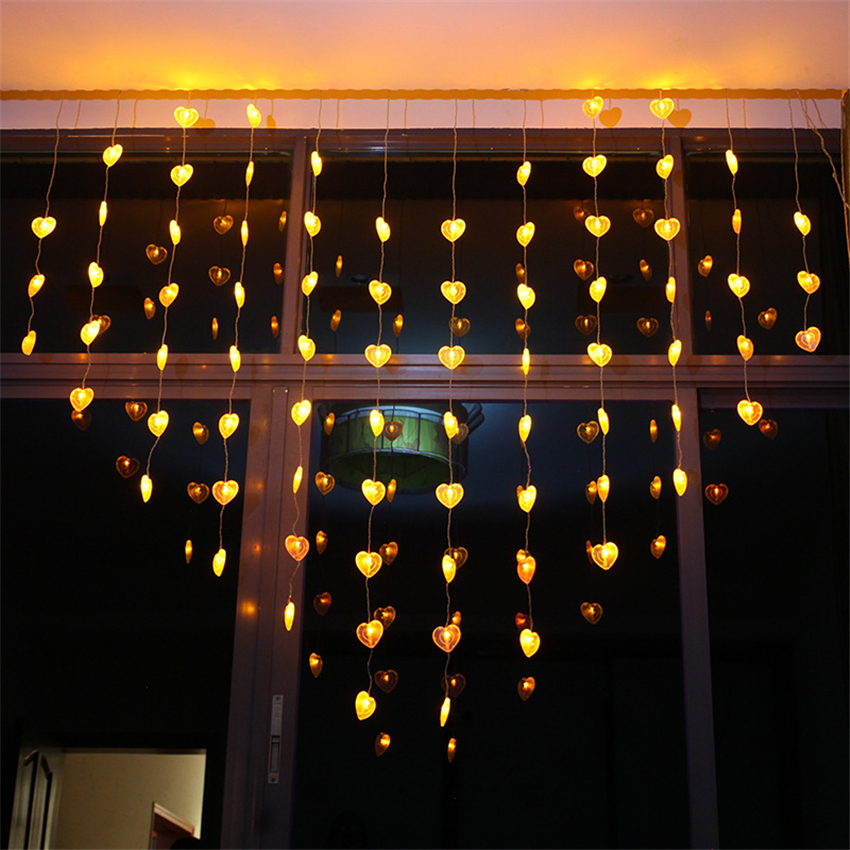 Garlands Heart LED Curtain Lights Indoor Christmas Lighting Valentineu0027s Day  New Year Curtain Lights Decoration For Living Room In Holiday Lighting From  ...