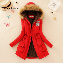 Echoine Faux Fur Coats Women Long Sleeve Hooded Neck Zipper Button Plus Size Casual Female Outwear Warm Down Jacket Thick Parkas cheap Women coat JNZY-SLBE02 Full COTTON Polyester Thick (Winter) Broadcloth Slim Solid Winter coat women 0 75kg Pockets Zippers