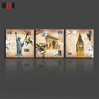 Home Decor American Style 3 Panels Wall Canvas Printing Canvas Landscape Painting Famous Building Pictures Paris London Cuadros