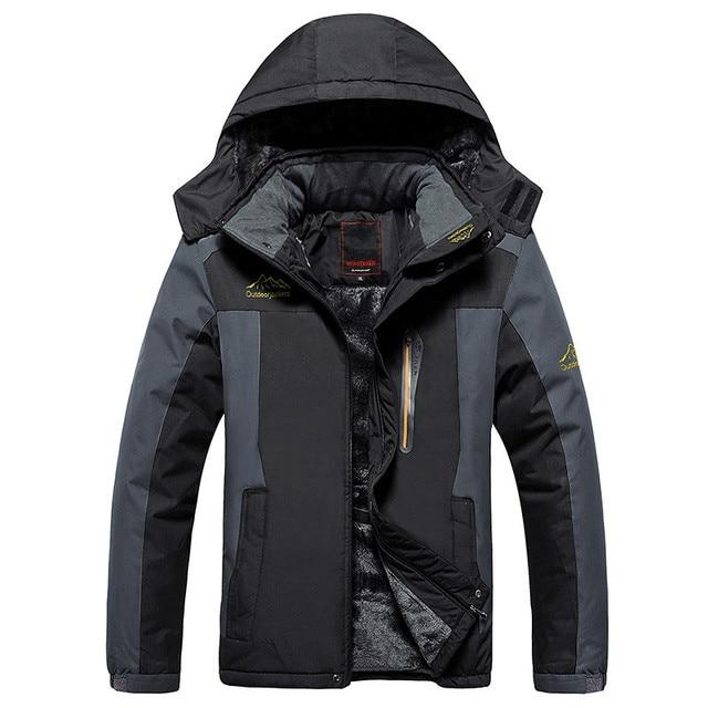 Mùa đông áo khoác nam Không Thấm Nước windproof nhung ấm parka áo Du Lịch Leo Núi áo khoác cộng với kích thước XL-9XL Xuống Parka nam doudoune