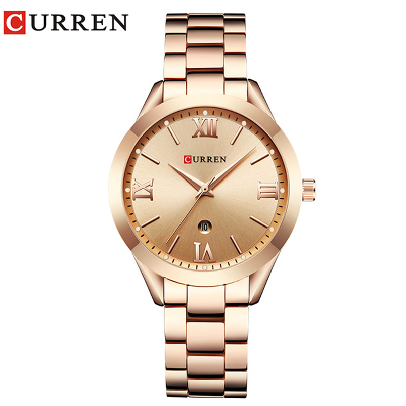 CURREN Simple Fashion Stainless Steel Analog Quartz Wrist Watch Calendar Female Dress Watch Women Clock Relogio Feminino 9007