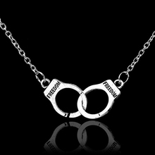 Punk Alloy Necklace Two Handcuffs Pendant Necklaces Fashion Jewelry Gifts CX17