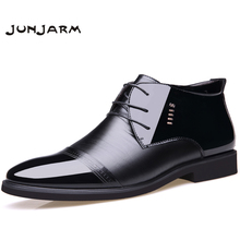 JUNJARM 2018 New Designer Men Boots Microfiber Men Winter Shoes Wool Inside Warm Snow Shoes Black Man Leather Ankle Boots