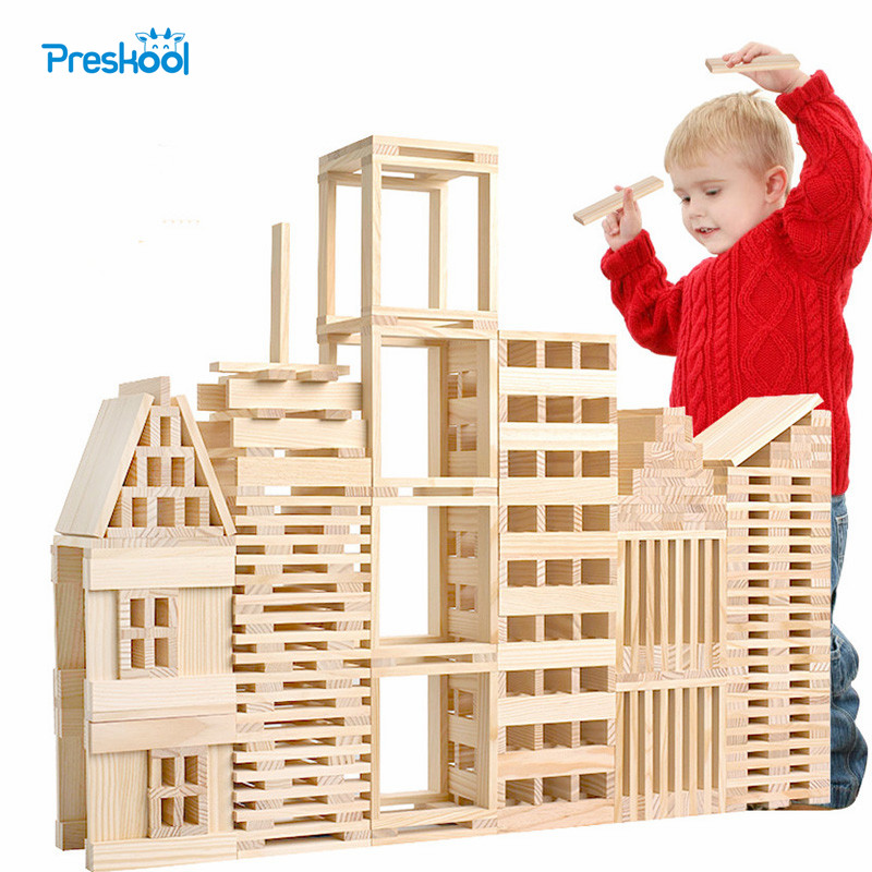 Montessori Kids Toy Baby Jenga Wood 100 Pcs Blocks Building Learning Educational Preschool Training Brinquedos Juguets baby educational wooden toys for children building blocks wood 3 4 5 6 years kids montessori twenty six english letters animal