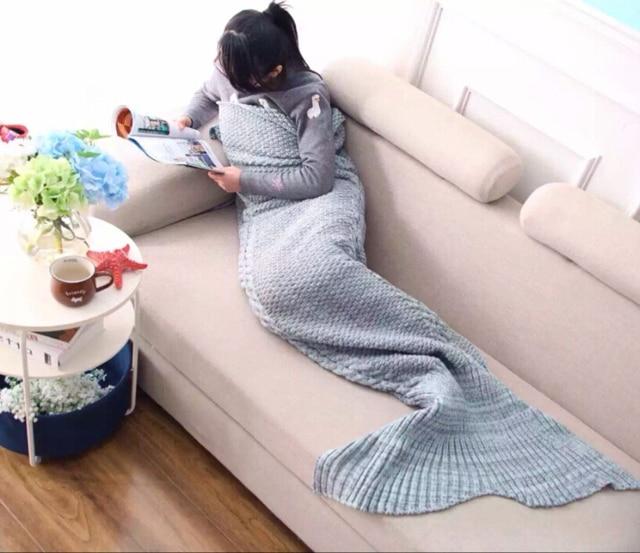 Hot Sale Knitted Mermaid Tail Blanket Handmade Children/Adult Mermaid Blanket  Wrap Bed Sofa Blanket