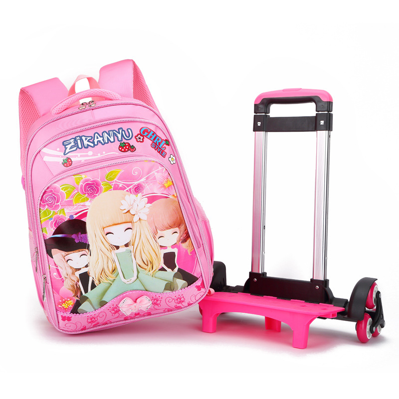 3 Wheels Children School Bags Primary Student Trolley Backpack Bag Girls Rolling Knapsack on Wheels Bagpack Schoolbags Mochilas genshuo 2017 women sexy valentine pointed toe stiletto high heels shoes ladies wedding dress bridal designer pumps zapatos mujer