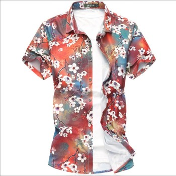 S-7xl 2020 Summer New Men Plus Size Short-sleeved Printing Shirt Holiday Casual Half Sleeve Floral Shirt Hairstylist Tide Shirts